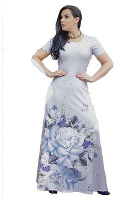Vestido Longo de Crepe Azul | NK3 | Moda Evangélica