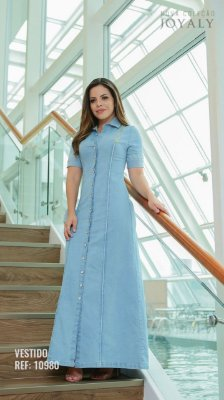 Vestido Longo Jeans com botões - 10980 - Joyaly