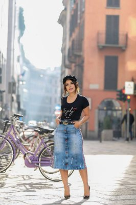 Saia Jeans Midi com Botões - 10963 - Joyaly