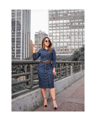 Vestido Jeans Risca De Giz - 11301 - Joyaly Moda Evangélica/executiva
