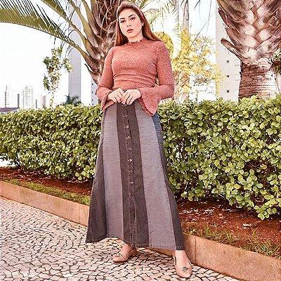 Saia  Jeans Longa Black com Botões- 1287 - Saiaria