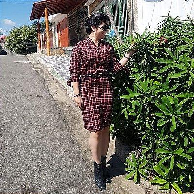 Vestido Xadrez Manga Longa
