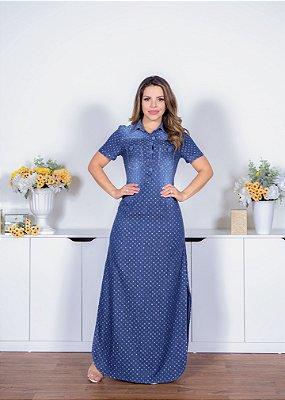 Vestido Jeans Longo - 11425 - Joyaly - Moda Evangélica Feminina