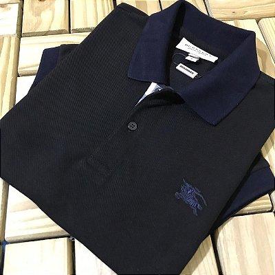 Camisa Gola Polo - B u r b e r r y Preta e Marinho