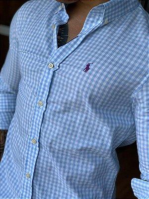 Camisa Xadrez RL Azul Claro Pony Roxo