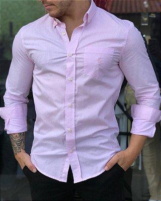Camisa RL Micro Xadrez Rosa Com Bolso