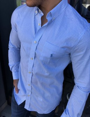 Camisa RL Micro Xadrez Azul Com Bolso