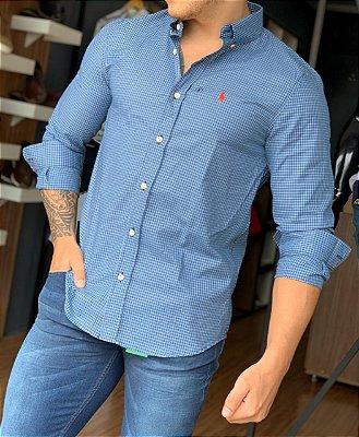 Camisa Xadrez RL Azul com Pony Vermelho