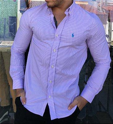 Camisa RL Micro Xadrez Lilás com Pony Azul