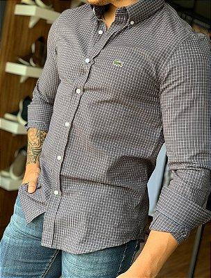 Camisa L-02 Preta Quadriculada
