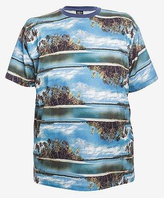Camiseta Estampada Gola Careca Turquesa