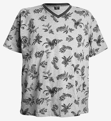 Camiseta estampada Gola V cinza