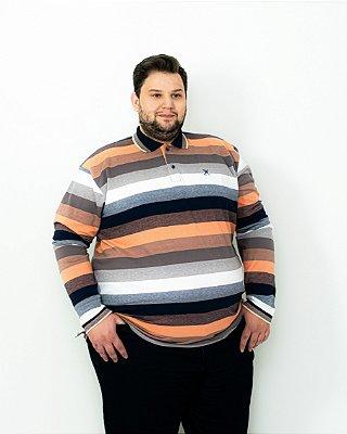 POLO PIQUET LISTRA SALMÃO MANGA LONGA