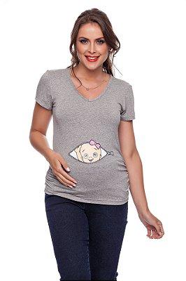 Blusa Gestante Temática Bebê Menina Zipper