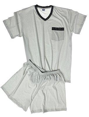 Pijama Masculino Plus Size Manga Curta Fechado