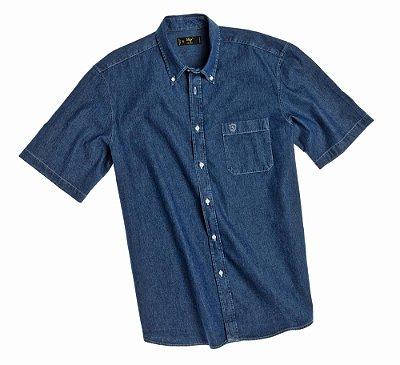 Camisa Masculina Plus Size Jeans Manga Curta