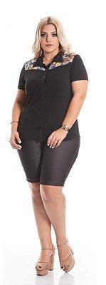Bermuda Feminina Plus Size Malha Jeans
