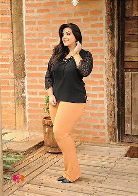Calça Feminina Plus Size Flare em Jacquard Lanegan