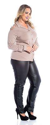 Camisa Feminina Plus Size Viscose Lisa com Tirinhas Manga