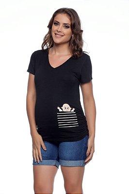 Blusa Gestante Decote V Temática Bebê
