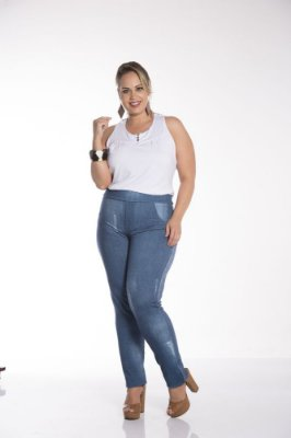 Calça Feminina Plus Size Malha Jeans