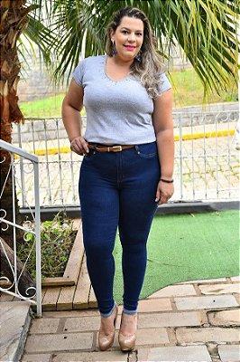 Calça Feminina Plus Size Cropped Jeans com Cinto