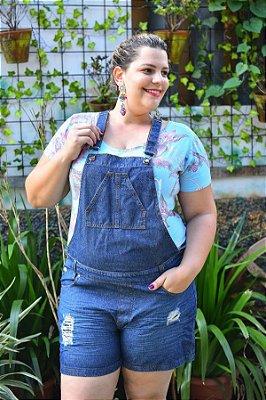 Macaquinho Jeans Feminino Plus Size