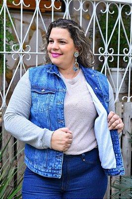 Jaqueta Feminina Plus Size Jeans Forrado com Moletom