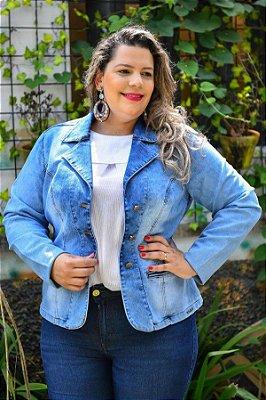 Blazer Plus Size em Jeans com Elastano
