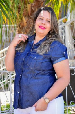 Camisa Feminina Plus Size Jeans Manga Curta