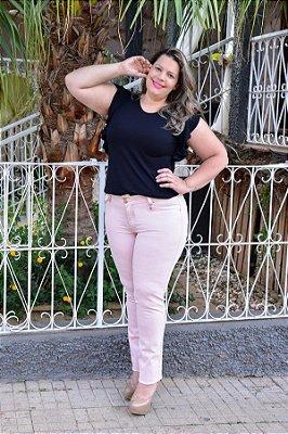 Calça Feminina Plus Size Sarja Rosa