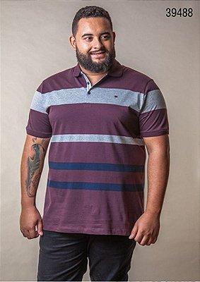 Camiseta Masculino Plus Size Polo Listrada