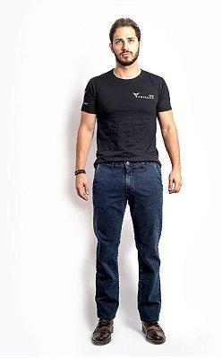 Calça Masculina Plus Size Jeans Tradicional com Elastano Bolso Faca.