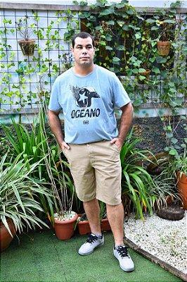 Bermuda Masculina Plus Size Sarja Bolso Faca Bege
