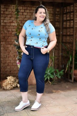 Calça Feminina Plus Size Capri Jeans