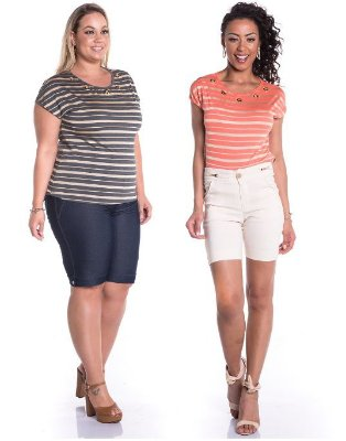Blusa Feminina Plus Size Listrada