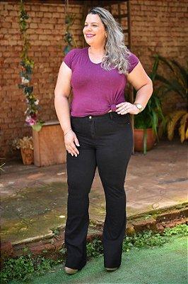Calça Feminina Plus Size Sarja Flare