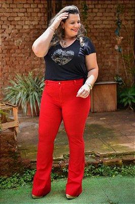 Calça Feminina Plus Size Sarja Flare Vermelha