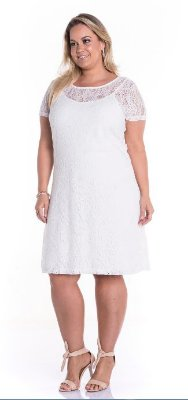 Vestido Plus Size Renda Off White