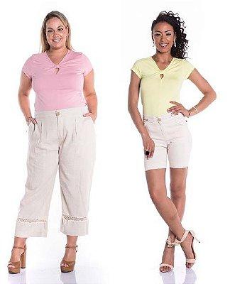 Blusa Feminina Plus Size com Detalhe no Decote
