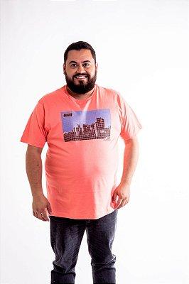 Camiseta Masculina Plus Size Gola Careca Estampada