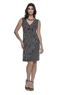 Vestido Gestante Listrado com Lateral Transpassado