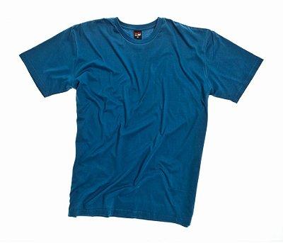 Camiseta Masculino Plus Size Gola Careca Lisa Azul