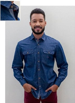 Camisa Masculina Plus Size Jeans Tradicional Manga Longa
