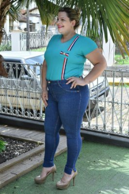 Calça Feminina Plus Size Skinny Jeans