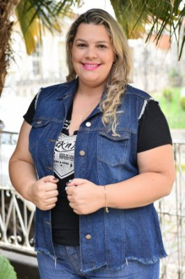 Colete Feminino Plus Size Jeans