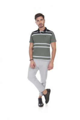 Camiseta Masculino Plus Size Polo Listrada Com Bolso