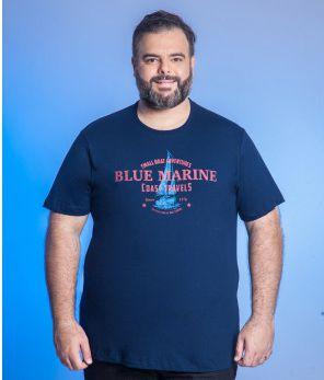 Camiseta Masculino Plus Size Gola Careca Estampada - Cores Diversas