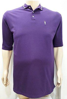 Camiseta Masculino Plus Size Polo Piquet Violeta