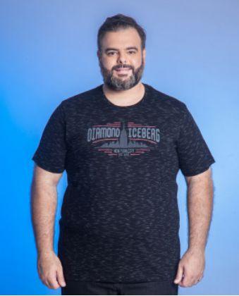 Camiseta Masculino Plus Size Gola Careca Estampada - Marinho e Preto